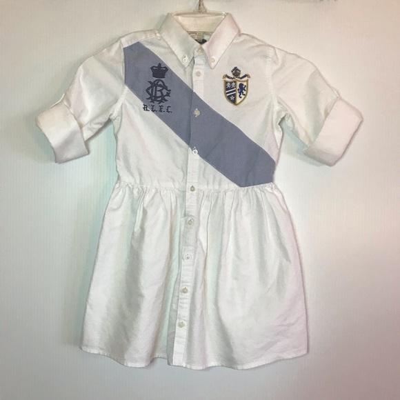 Ralph Lauren Girls 5 White Button Up Shirt Dress